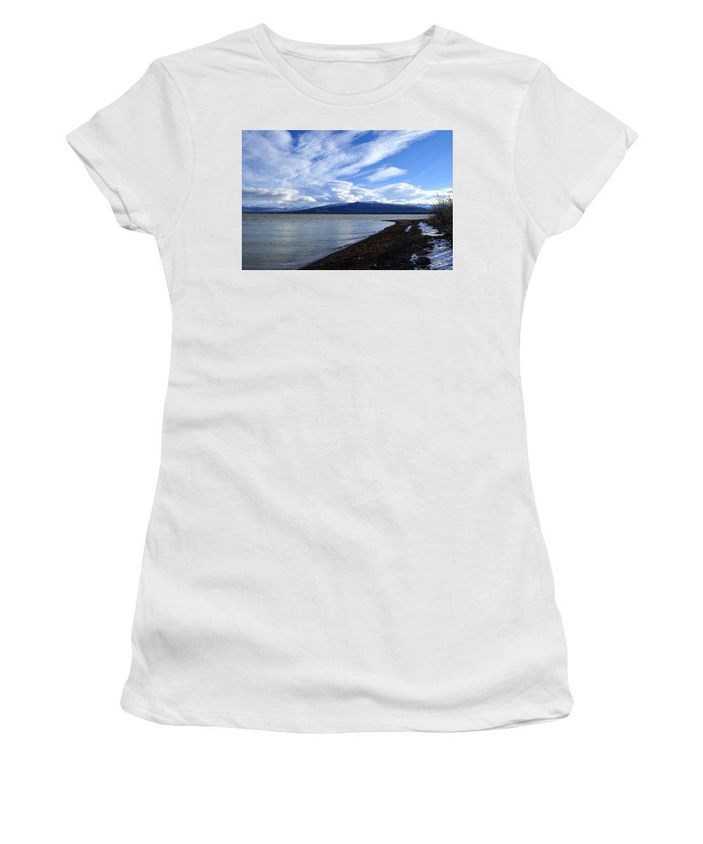 Dezadeash Women's T-Shirt (Athletic Fit) featuring the photograph Dezadeash Lake by Cathy Mahnke
