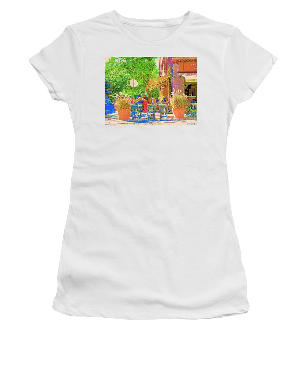 French Bistro Women's T-Shirt featuring the painting Dinner On The Terrace Le Murphy Boire Et Manger French Bistro Montreal Cafe Street Scene by Carole Spandau