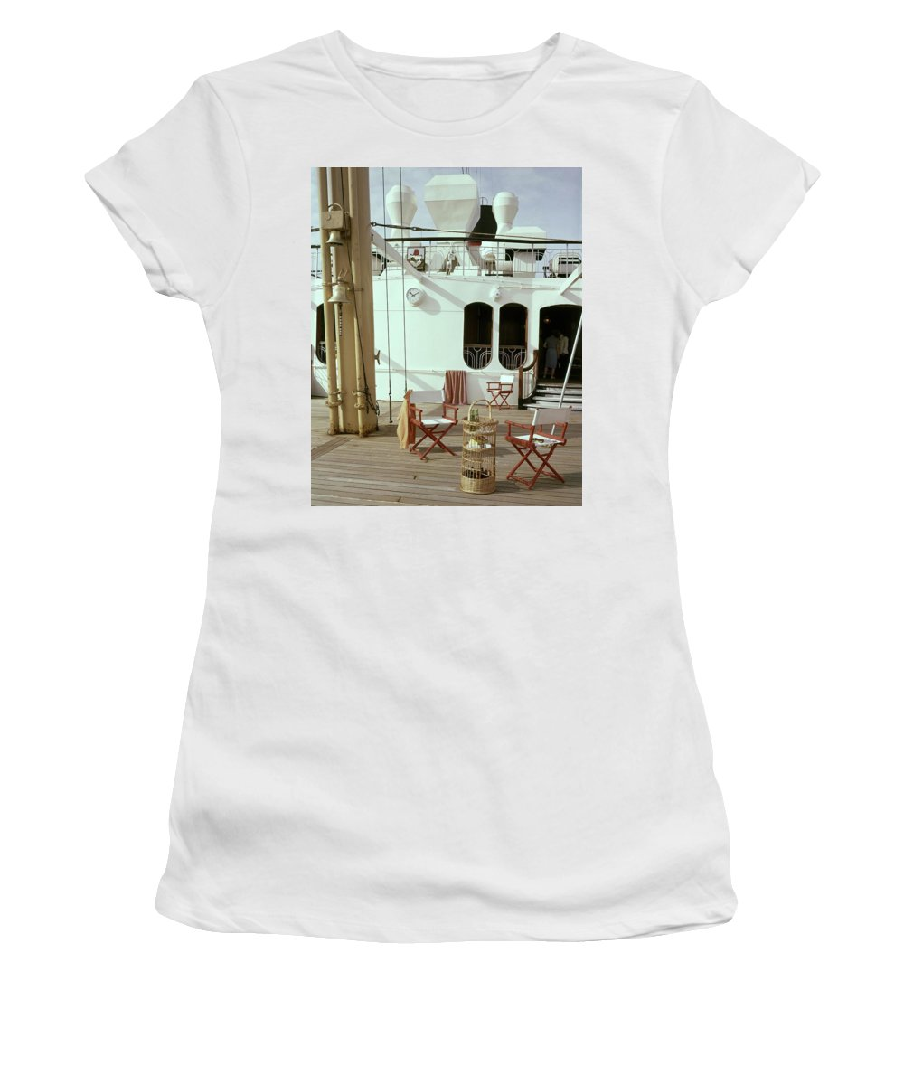 Interior Women's T-Shirt featuring the photograph Directors Chairs In Front Of The Ship The Queen by Tom Leonard