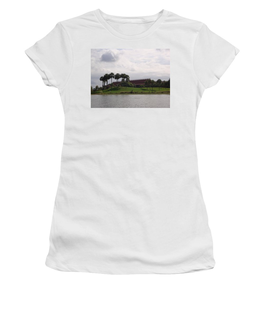 Disney Women's T-Shirt (Athletic Fit) featuring the photograph Disney's Polynesian Resort Hotel by Kim Chernecky