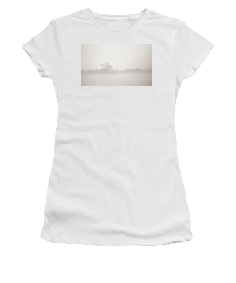 Fog Women's T-Shirt (Athletic Fit) featuring the photograph Distant Shoreline by Marilyn Hunt