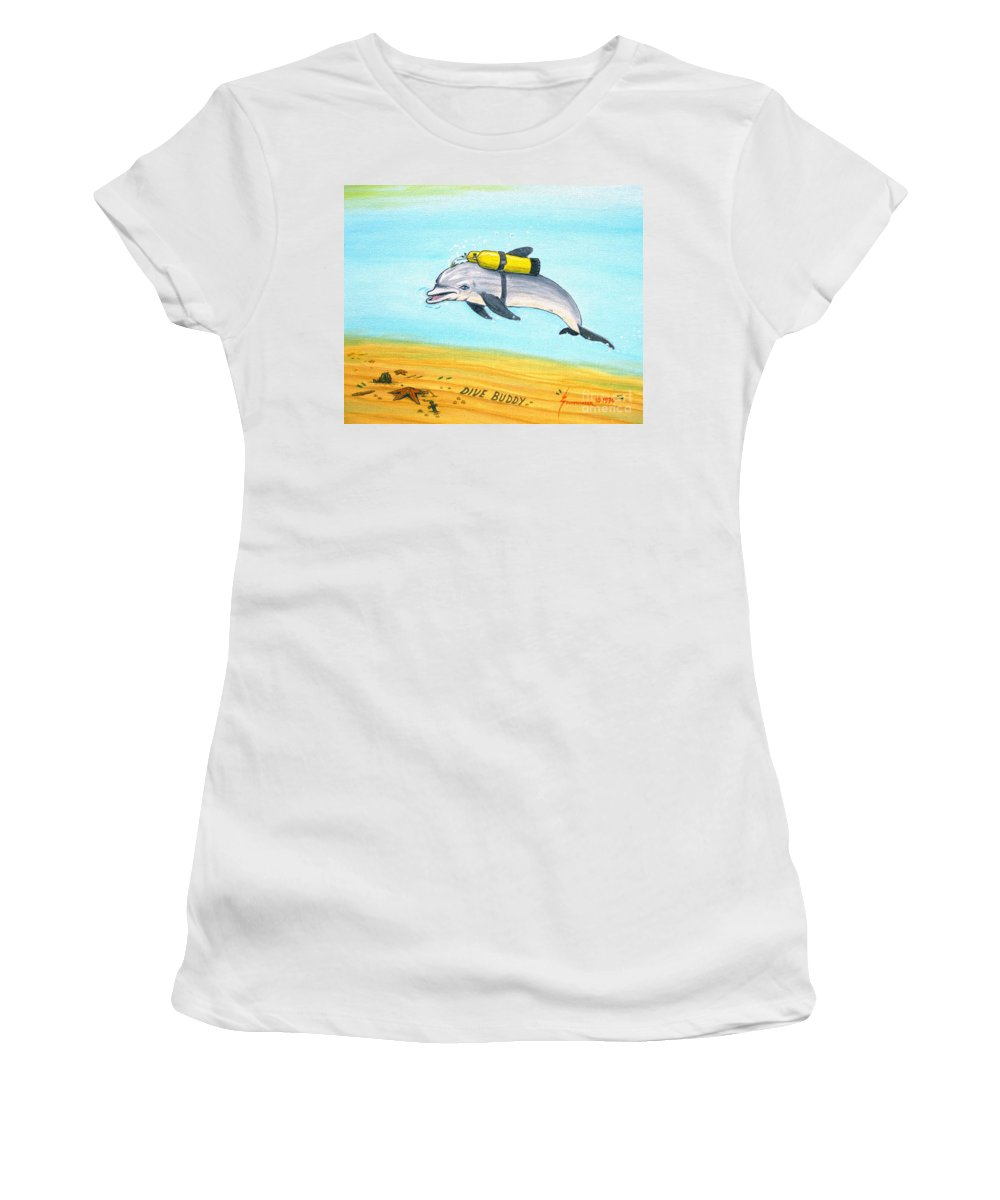 Dive Women's T-Shirt featuring the painting Dive Buddy by Jerome Stumphauzer