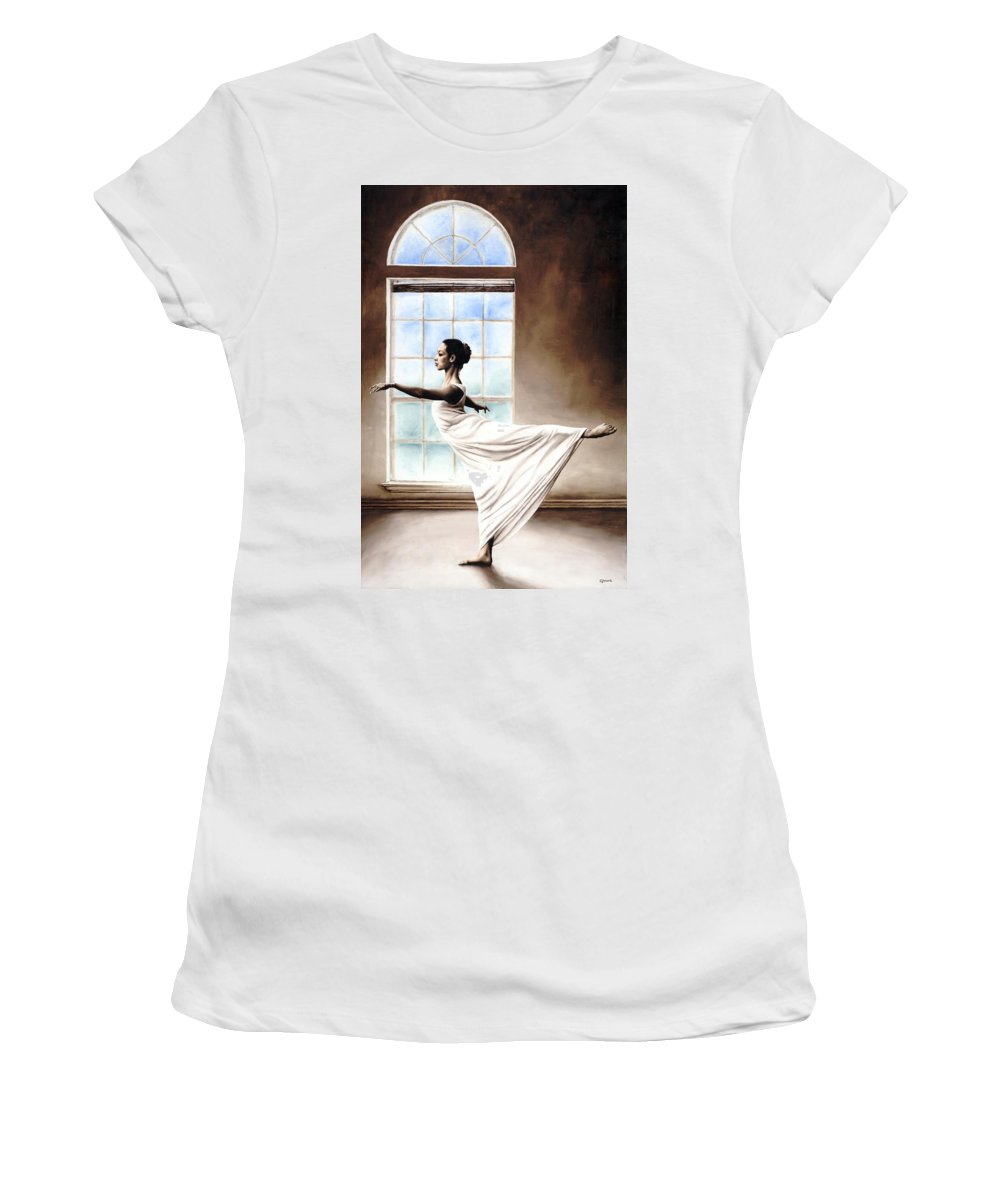 Dance Women's T-Shirt (Athletic Fit) featuring the painting Divine Grace by Richard Young