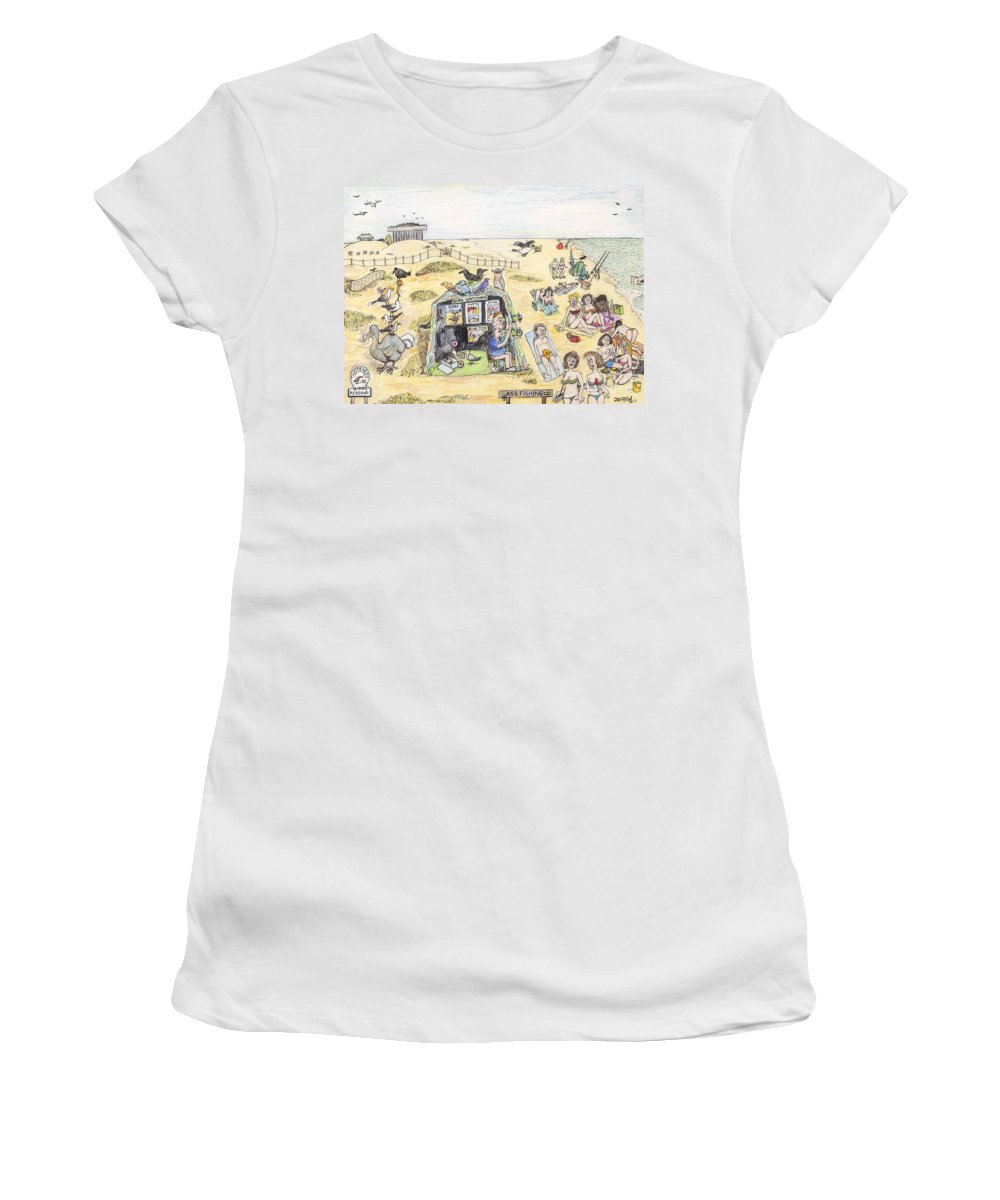 Boobs Women's T-Shirt featuring the drawing Dodo Pah Were Looking For The Booby Bird by Steve Royce Griffin