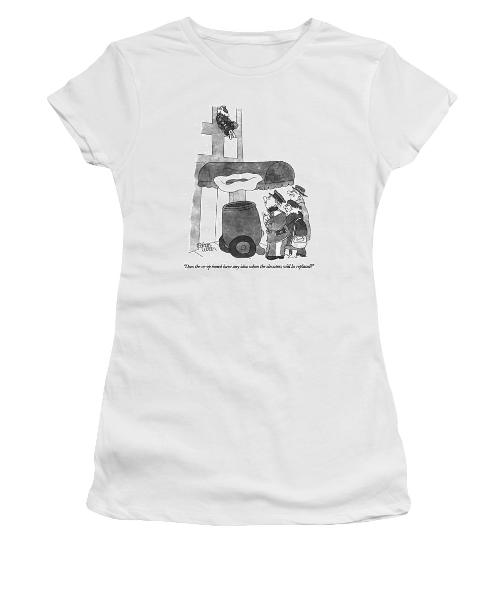 Urban Women's T-Shirt (Athletic Fit) featuring the drawing Does The Co-op Board Have Any Idea When by Gahan Wilson