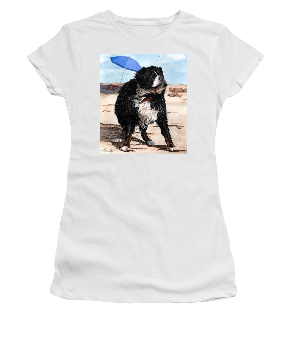 Bernese Mountain Dog Women's T-Shirt featuring the painting Dog Days Of Summer by Liane Weyers