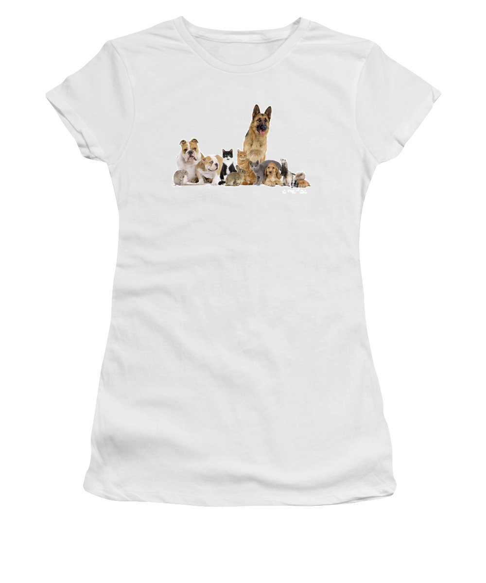 Pet Women's T-Shirt (Athletic Fit) featuring the photograph Domestic Mammal Pets by Jean-Michel Labat