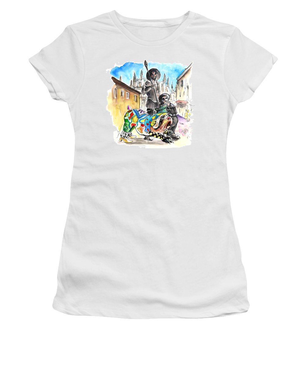 Travel Women's T-Shirt (Athletic Fit) featuring the painting Don Quijotes New Pet by Miki De Goodaboom