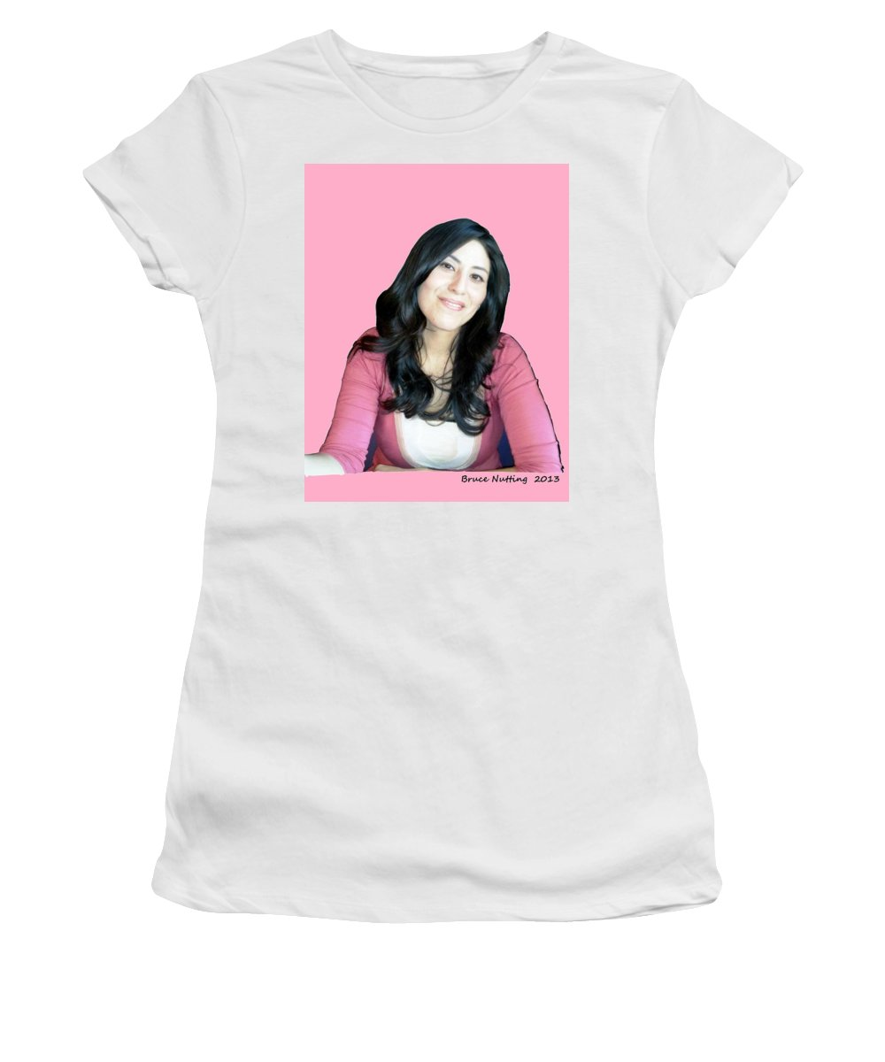 Donna Women's T-Shirt (Athletic Fit) featuring the painting Donna In Pink by Bruce Nutting
