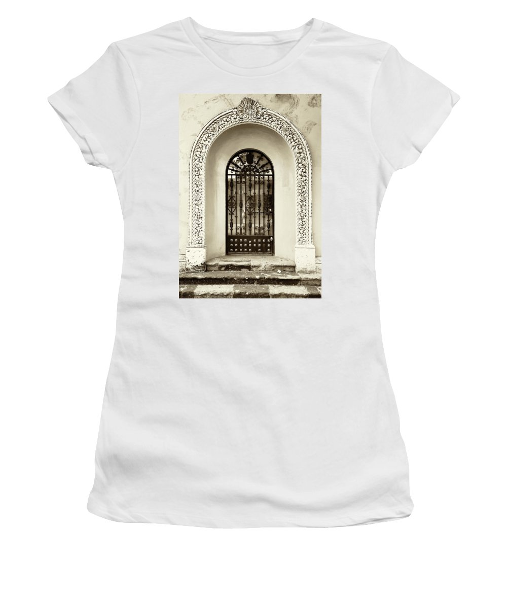 Architecture Women's T-Shirt (Athletic Fit) featuring the photograph Door With Decorated Arch by Roberto Pagani