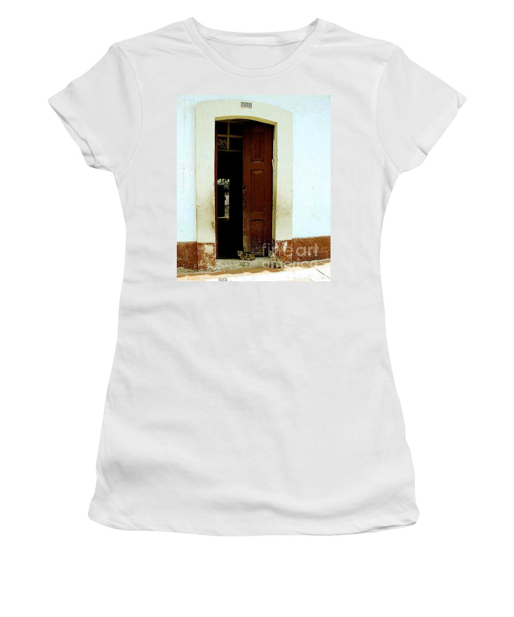 Cats Women's T-Shirt (Athletic Fit) featuring the photograph Dos Puertas Con Dos Gatos by Kathy McClure
