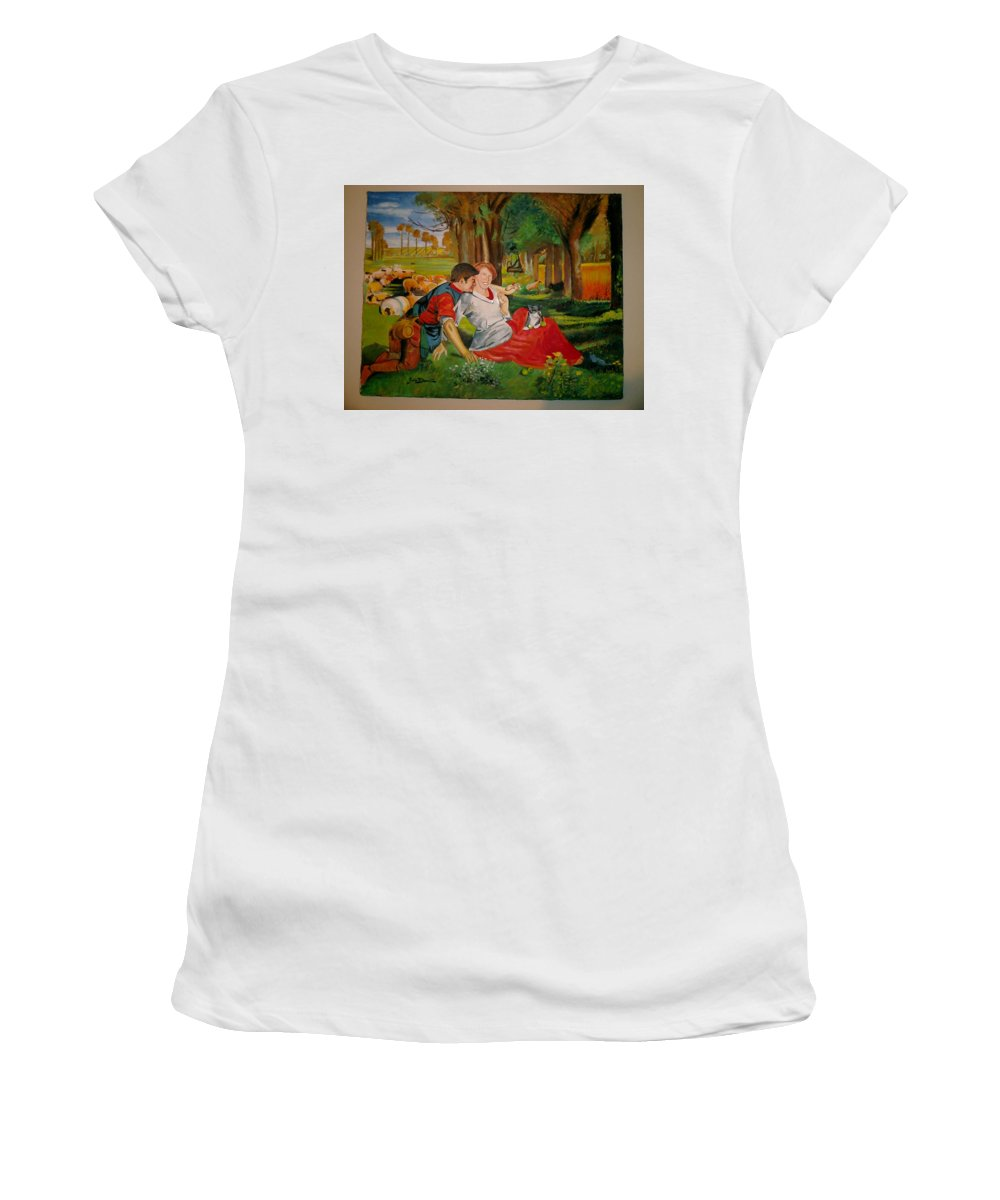 Women's T-Shirt (Athletic Fit) featuring the painting double portrait of freinds Gunner and Jessie by Jude Darrien