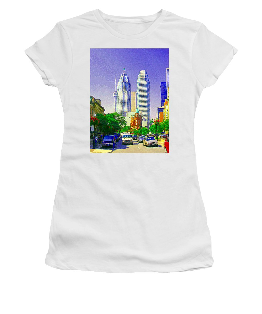 Toronto Women's T-Shirt featuring the painting Downtown Core Flatiron Building And Cn Tower Toronto City Scenes Paintings Canadian Art Cspandau by Carole Spandau