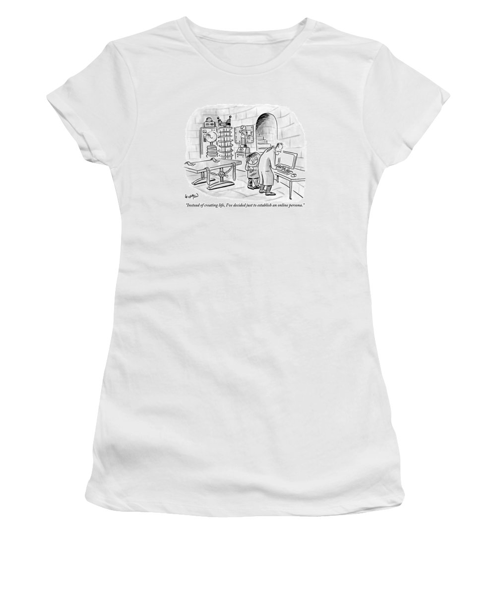 Frankenstein Women's T-Shirt featuring the drawing Dr. Frankenstein To His Assistant. His Lab Has No by Robert Leighton