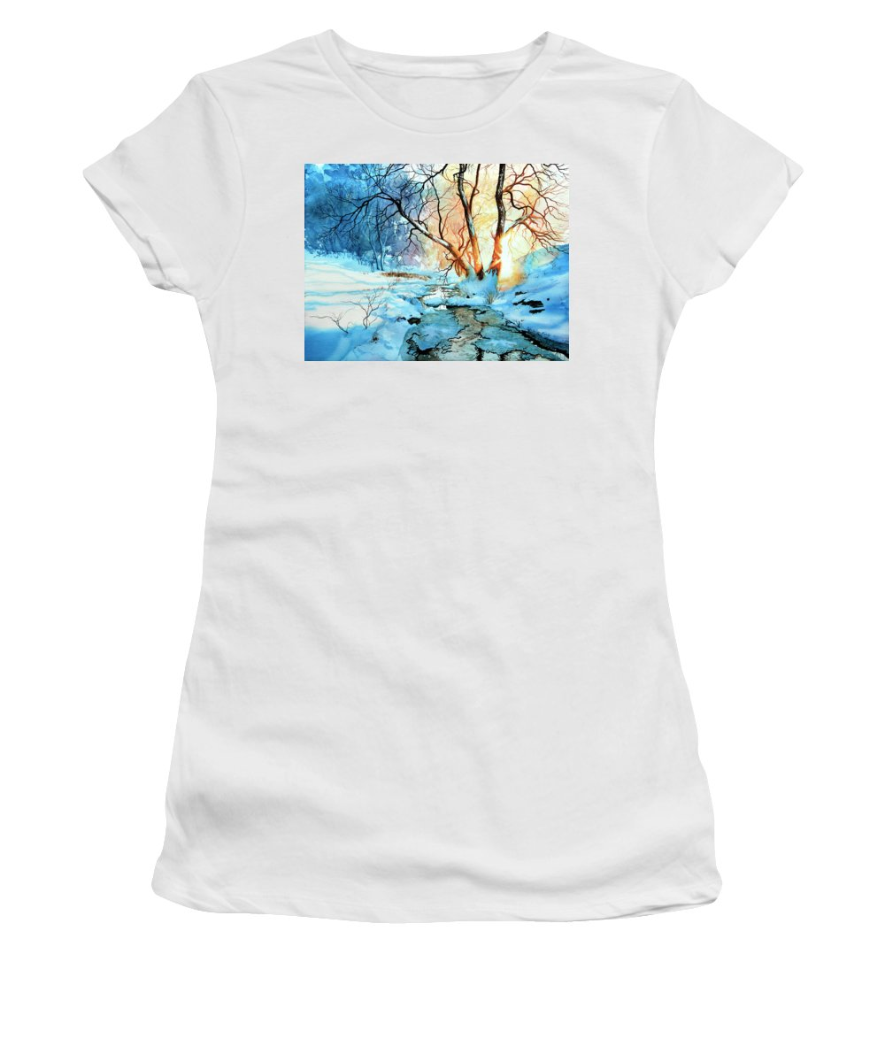 Winter Landscape Women's T-Shirt (Athletic Fit) featuring the painting Drawn To The Sun by Hanne Lore Koehler