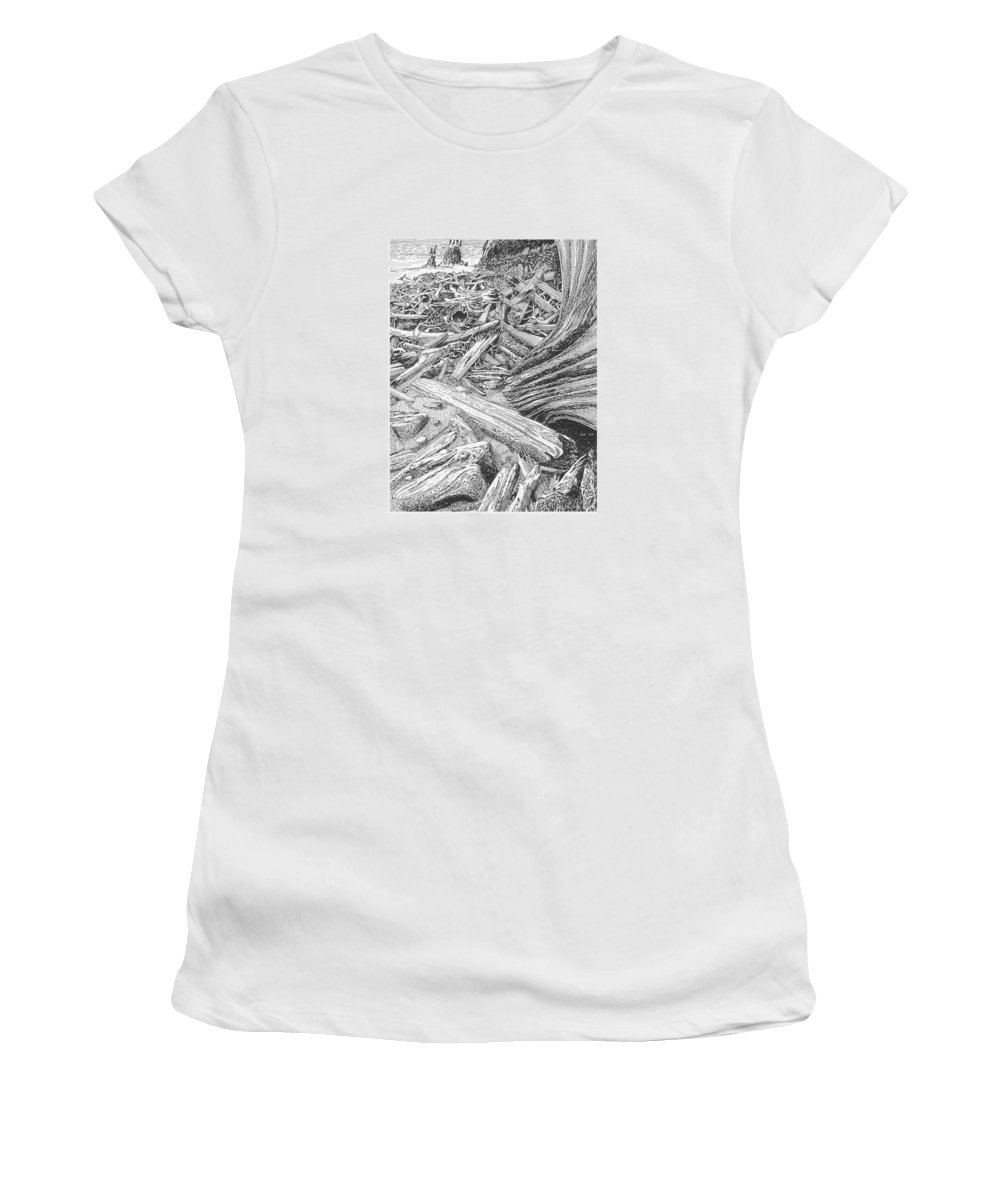 Find The Critter? Women's T-Shirt featuring the drawing Critter In The Driftwood by Jack Pumphrey