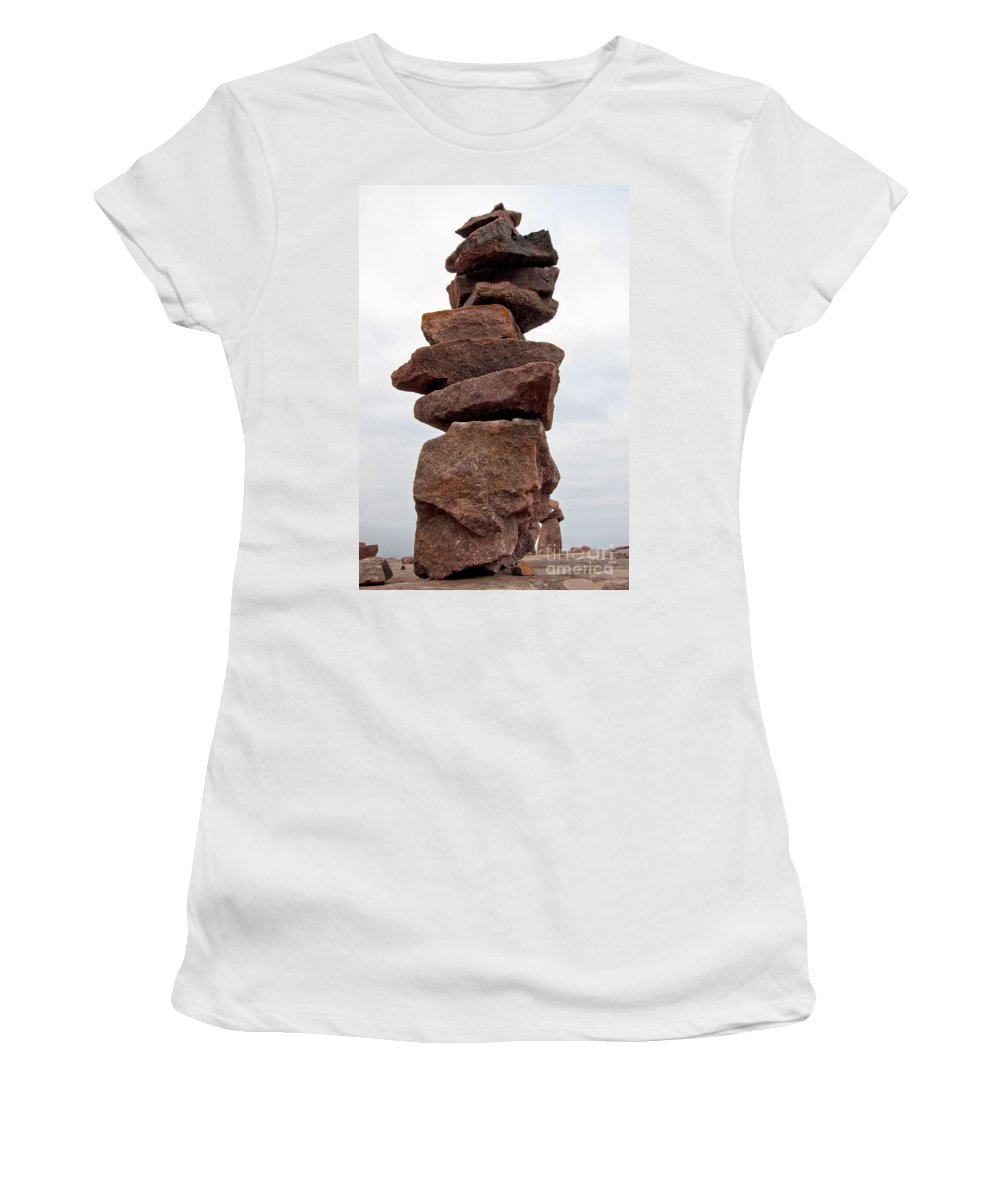 Rocks Women's T-Shirt featuring the photograph Druid Cairn by Olivier Le Queinec