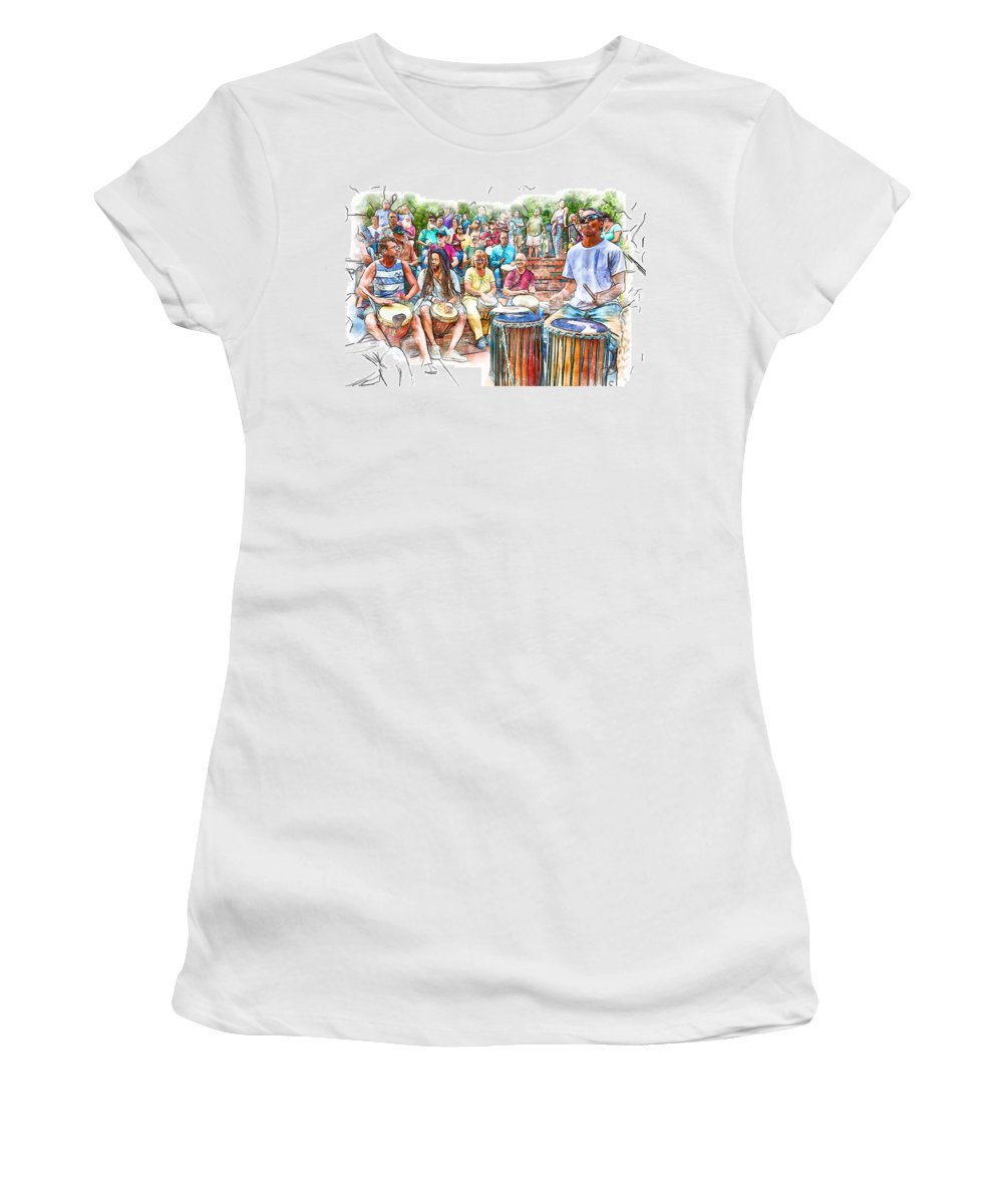 Drum Circle Women's T-Shirt featuring the photograph Drum Circle Of Friends by John Haldane