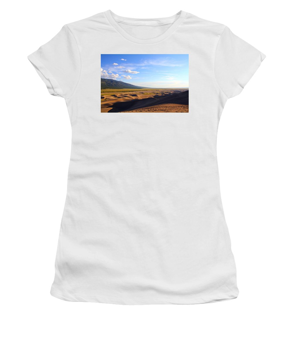 Sand Women's T-Shirt (Athletic Fit) featuring the photograph Dry Valley Vista by Marcelo Albuquerque