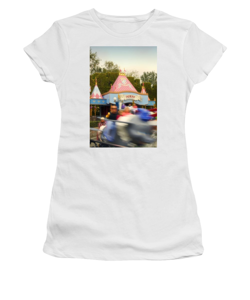 Disney Women's T-Shirt (Athletic Fit) featuring the photograph Dumbo Flying Elephants Fantasyland Signage Disneyland 02 by Thomas Woolworth