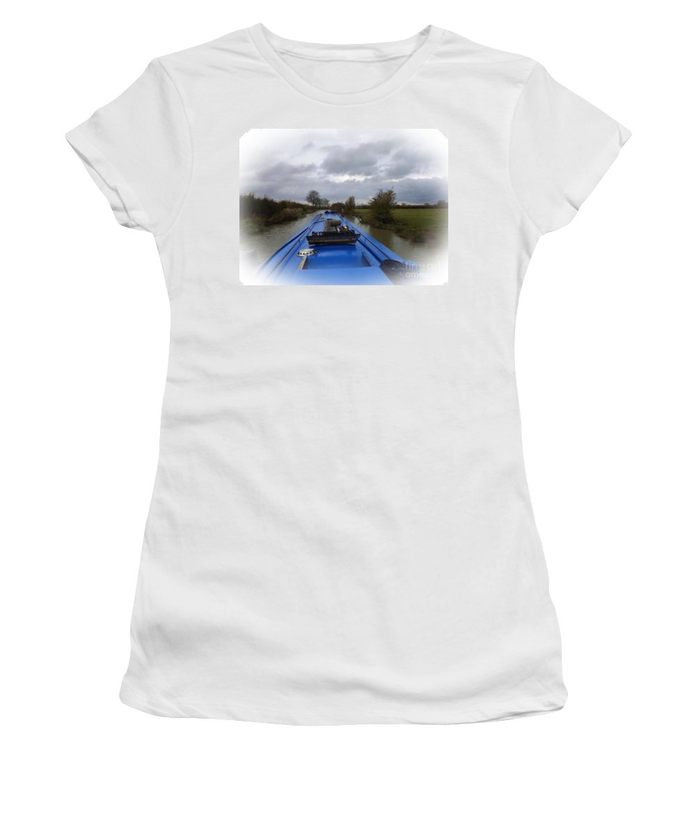 Narrowboat Women's T-Shirt featuring the photograph Dunrushin by Linsey Williams