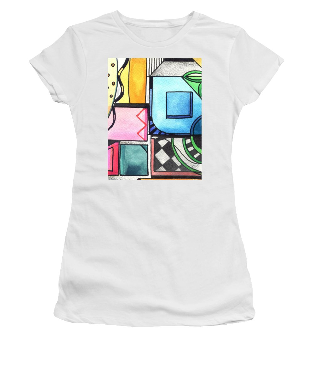 Geometric Women's T-Shirt featuring the painting Dwelling In The Square by Helena Tiainen