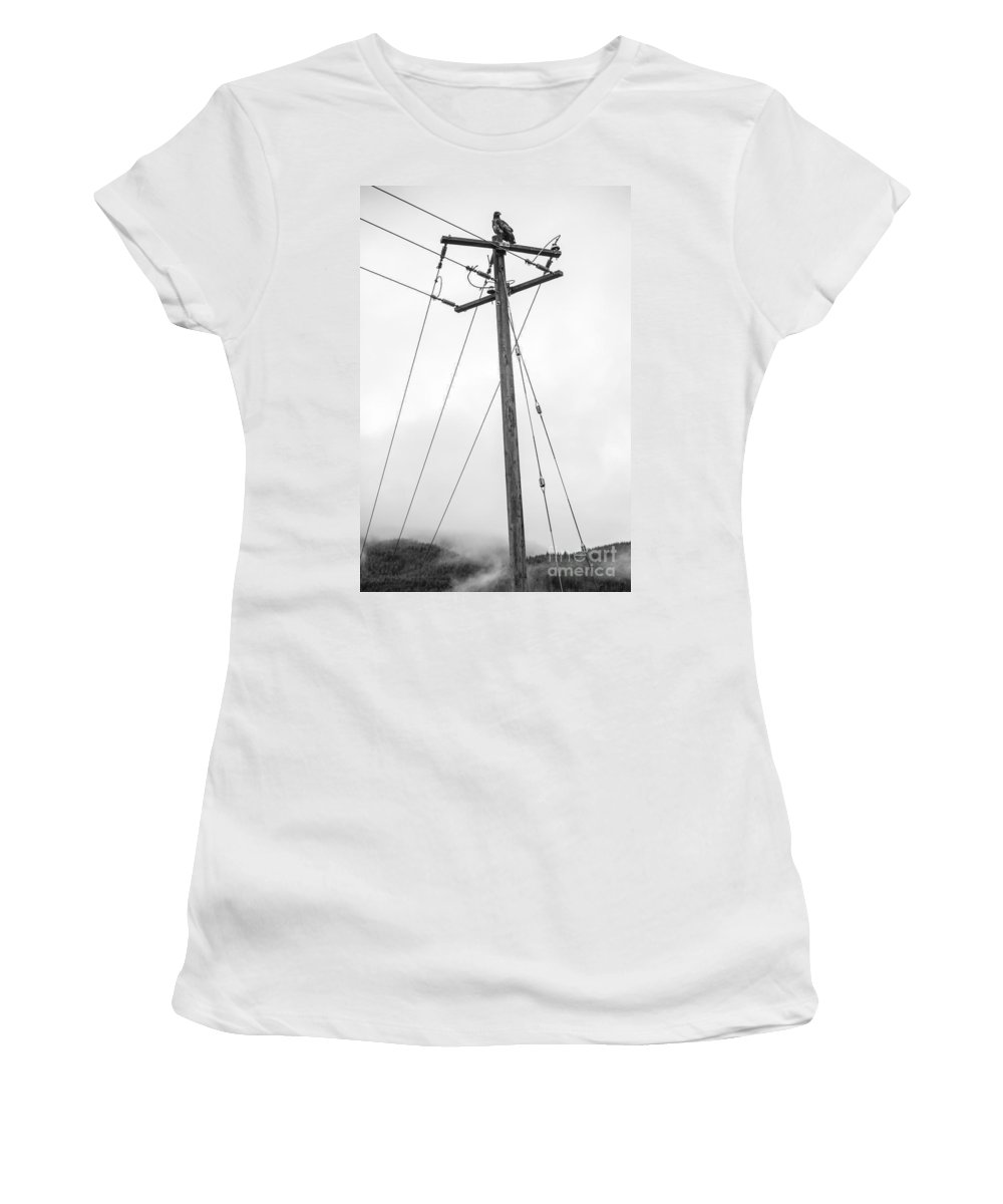 Soaring Women's T-Shirt (Athletic Fit) featuring the photograph Eagle In Fog by Alanna DPhoto