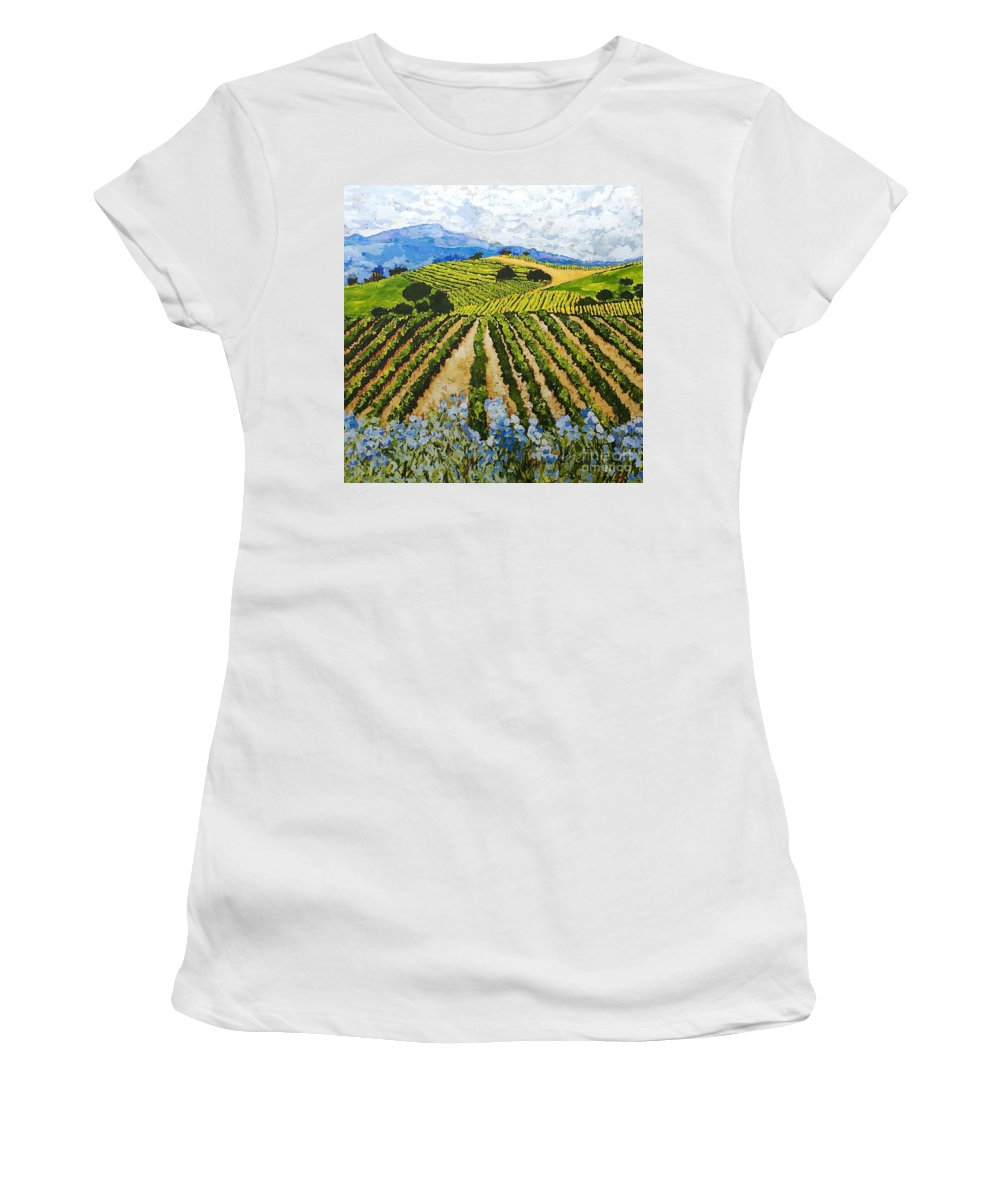 Landscape Women's T-Shirt (Athletic Fit) featuring the painting Early Crop by Allan P Friedlander