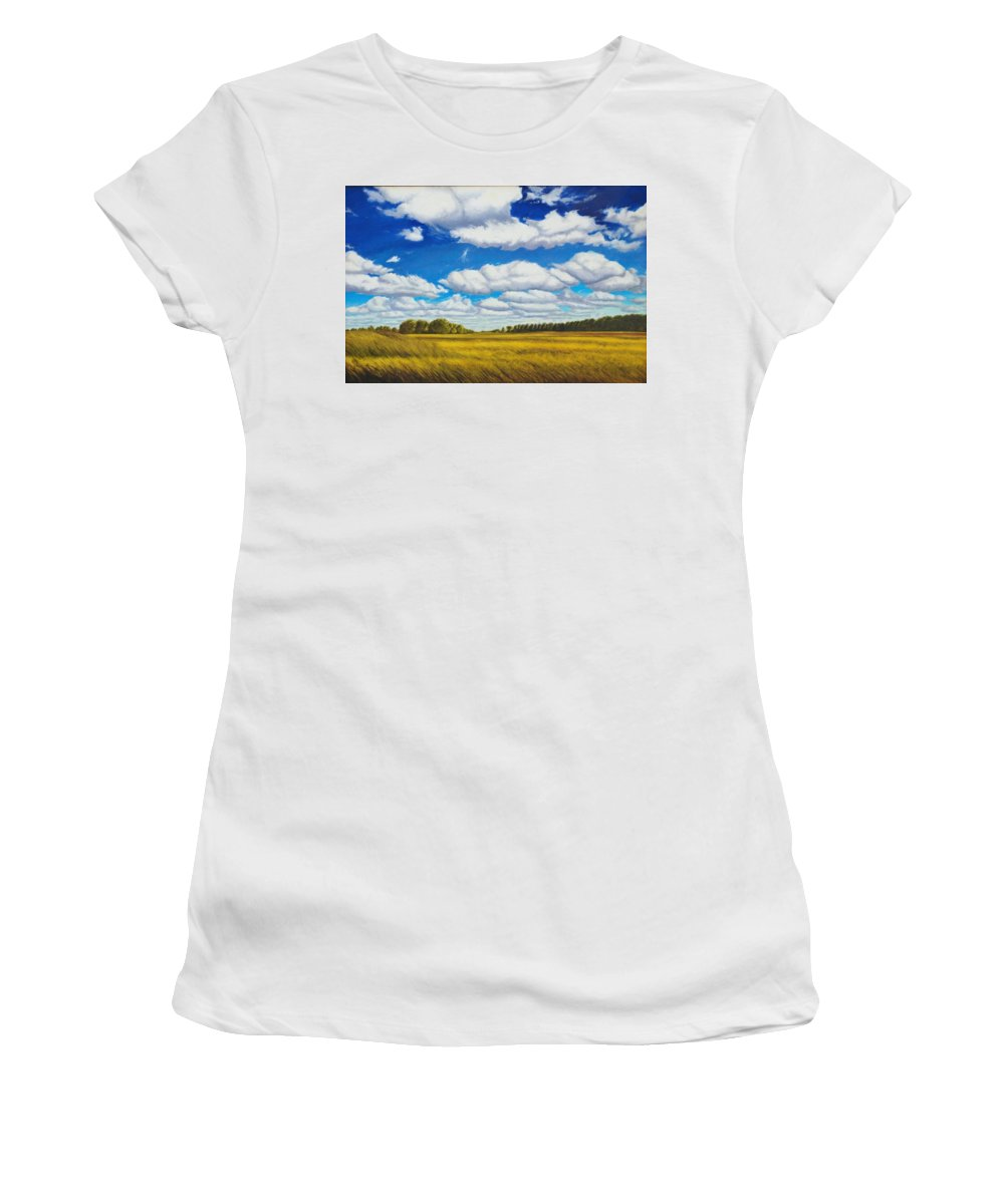 Wheat Women's T-Shirt (Athletic Fit) featuring the painting Early Summer Clouds by Leonard Heid