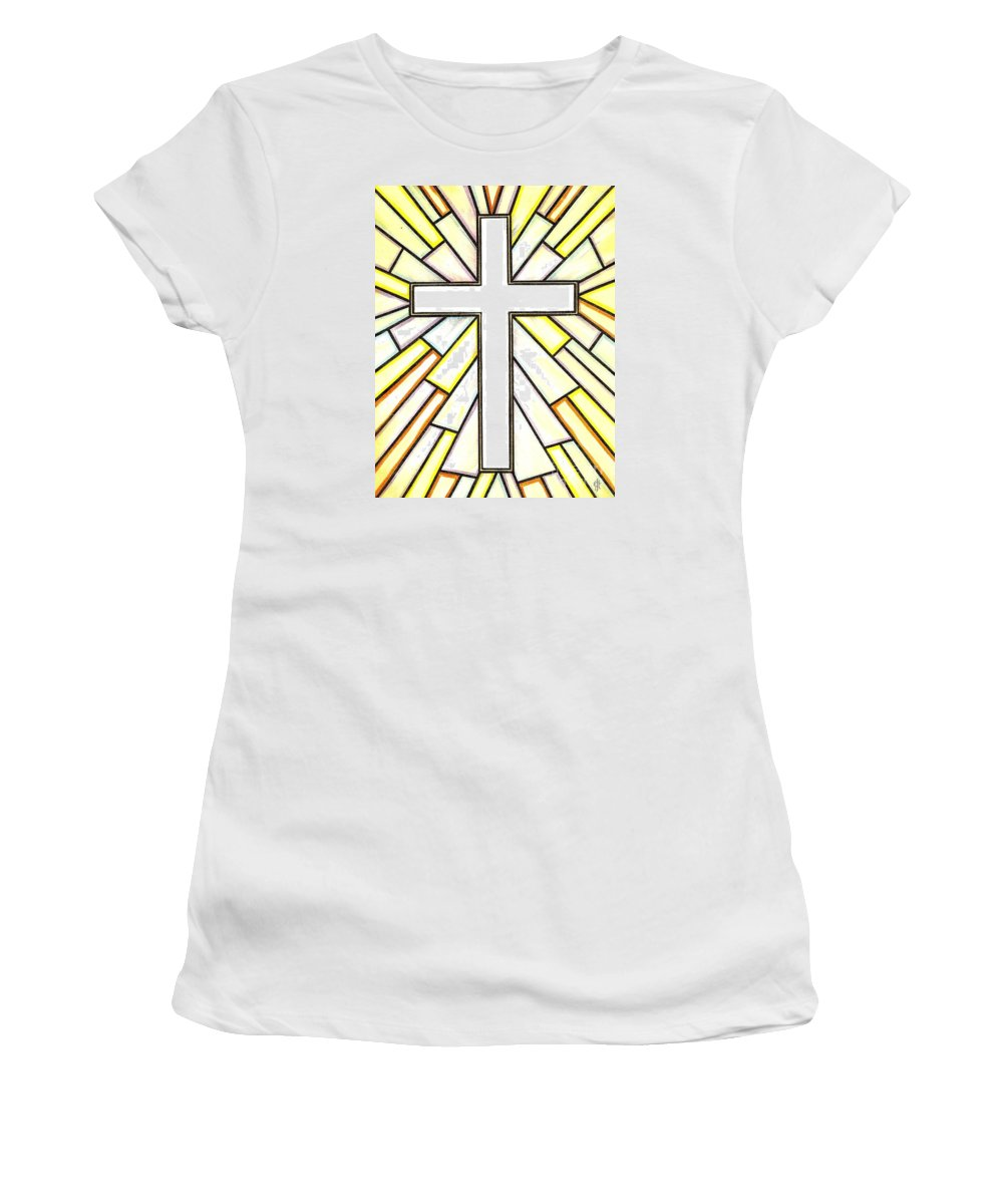 Cross Women's T-Shirt (Athletic Fit) featuring the painting Easter Cross 3 by Jim Harris