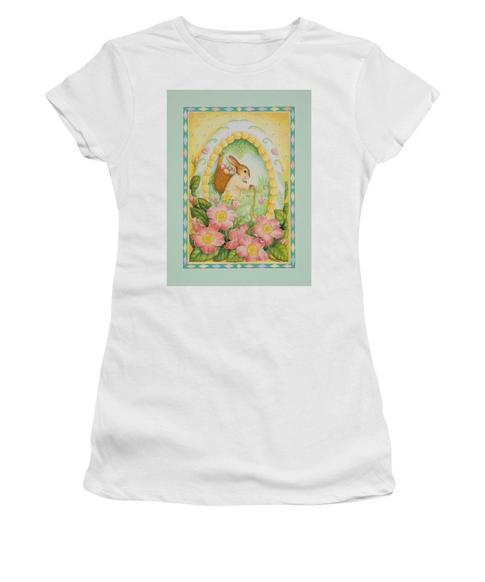 Easter Women's T-Shirt (Athletic Fit) featuring the painting Easter Egg by Lynn Bywaters