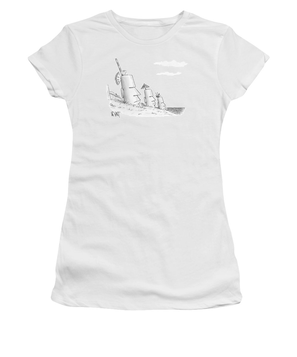 Captionless Women's T-Shirt featuring the drawing Easter Island Statues Have Straws And Umbrellas by Christopher Weyant