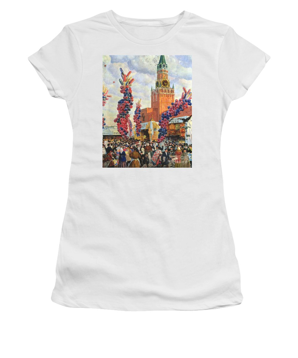 Urban Women's T-Shirt (Athletic Fit) featuring the painting Easter Market At The Moscow Kremlin by Boris Mikhailovich Kustodiev