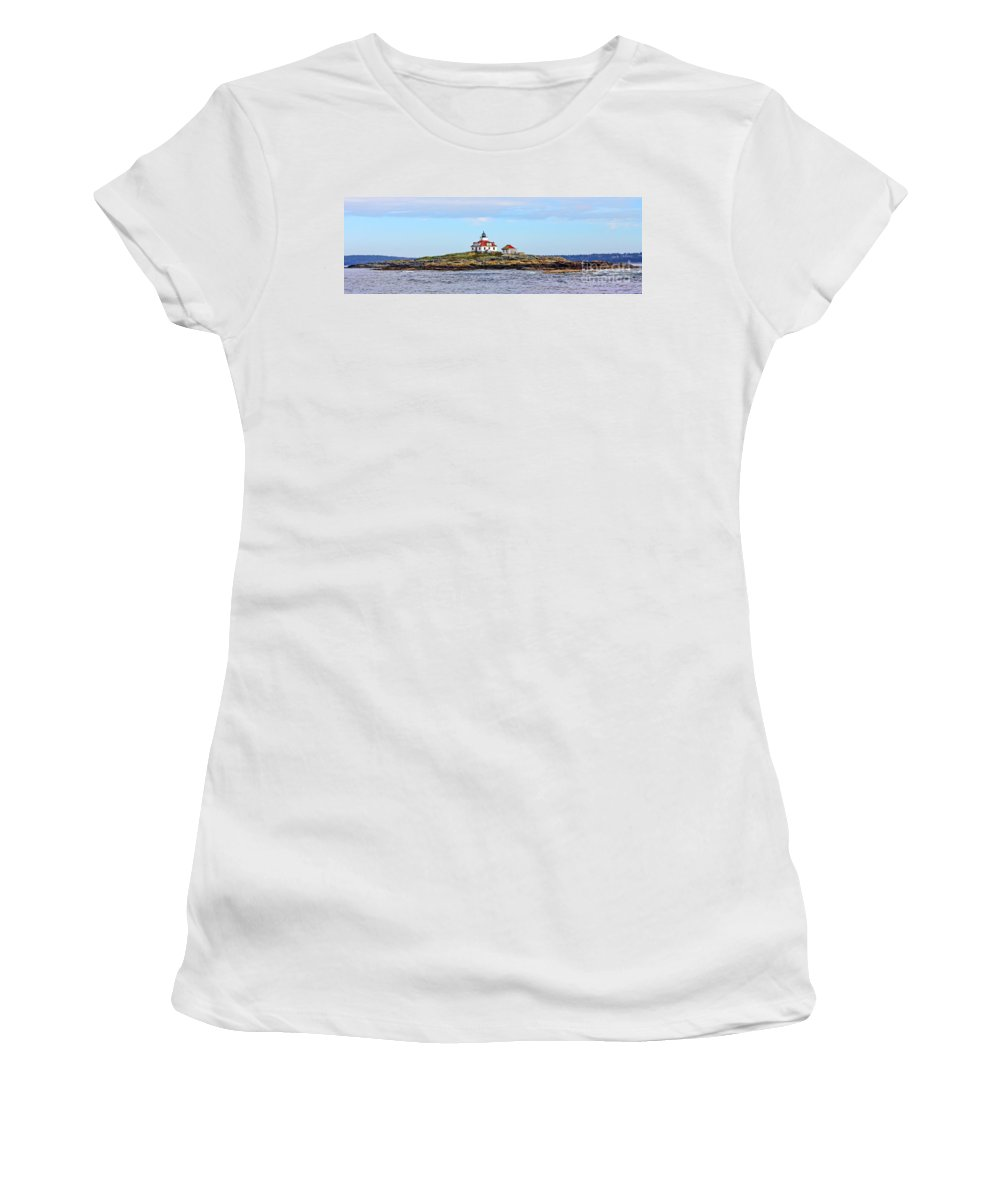 Egg Rock Lighthouse Women's T-Shirt (Athletic Fit) featuring the photograph Egg Rock Lighthouse by Jack Schultz