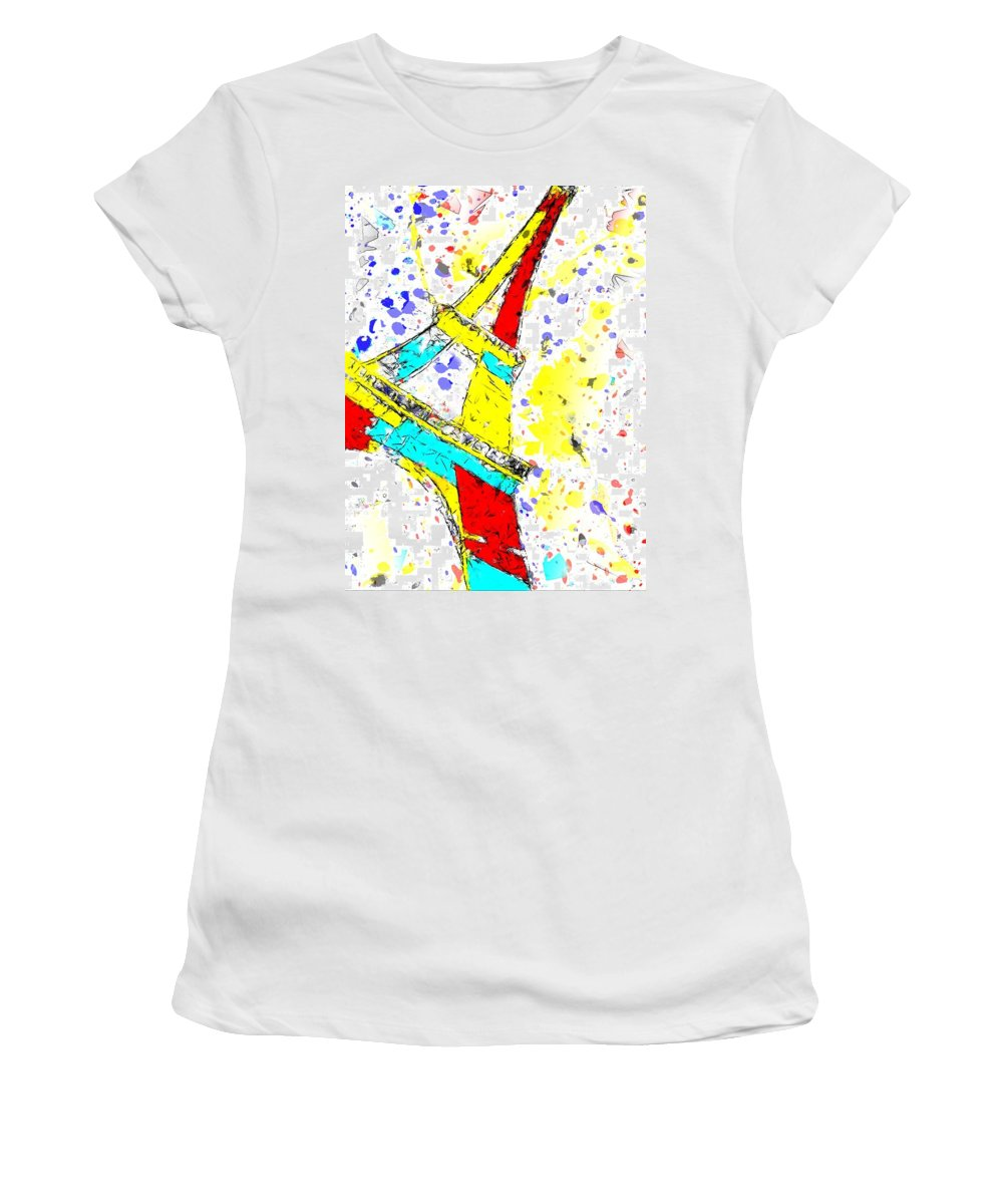 Paris Women's T-Shirt (Athletic Fit) featuring the painting Eiffel Tower Abstract - Paris France by Brian Raggatt