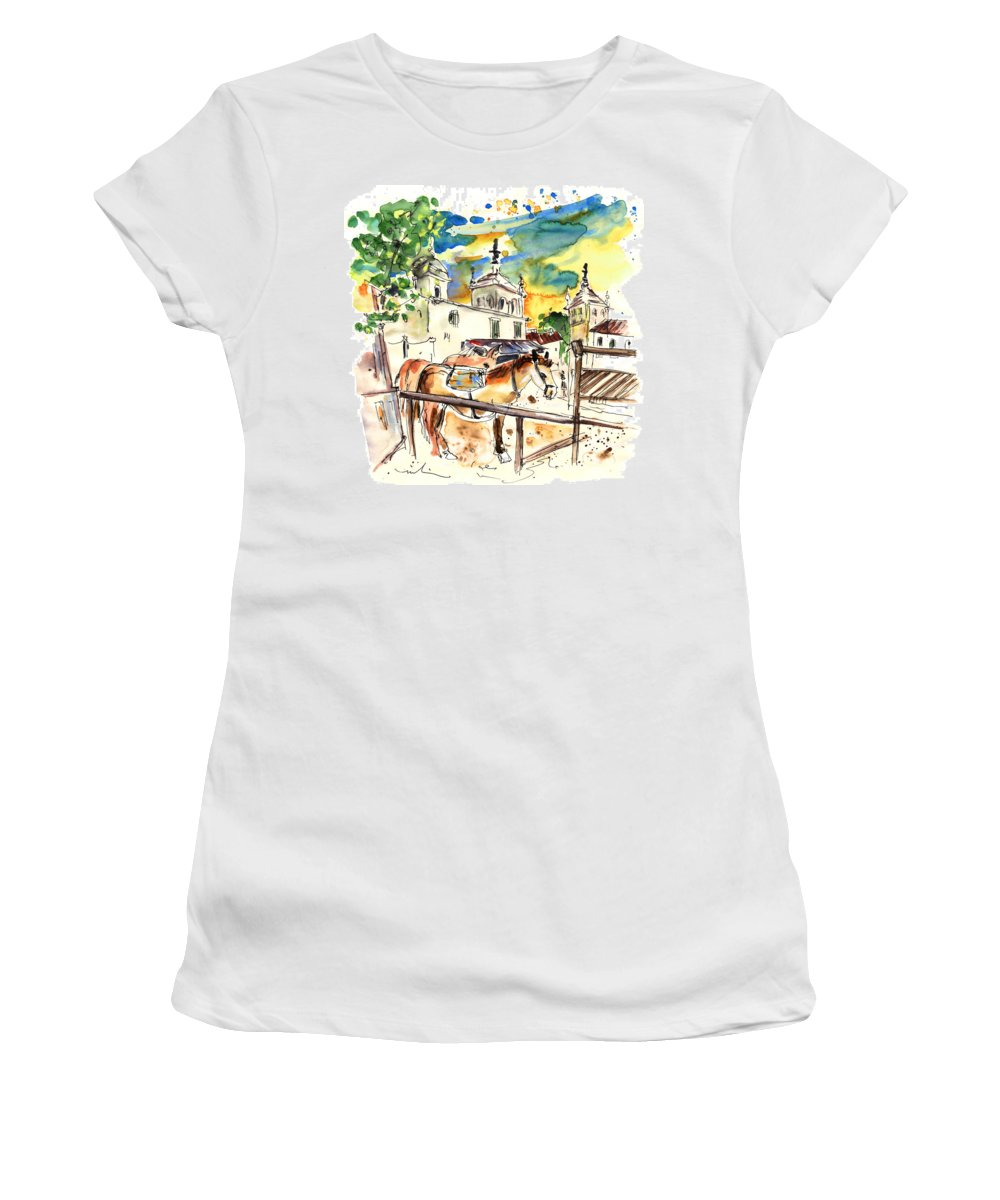 Travel Women's T-Shirt (Athletic Fit) featuring the painting El Rocio 02 by Miki De Goodaboom