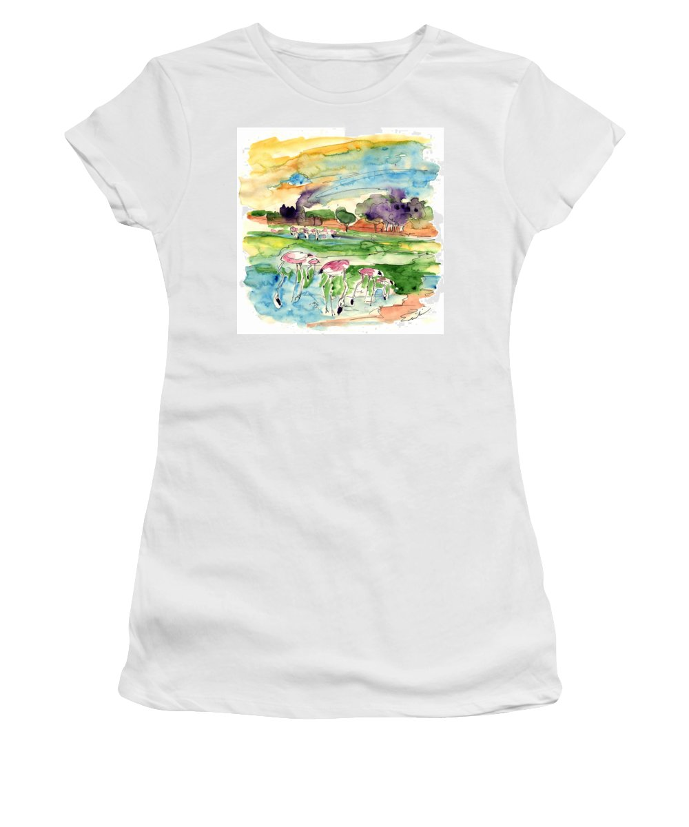 Travel Women's T-Shirt (Athletic Fit) featuring the painting El Rocio 09 by Miki De Goodaboom