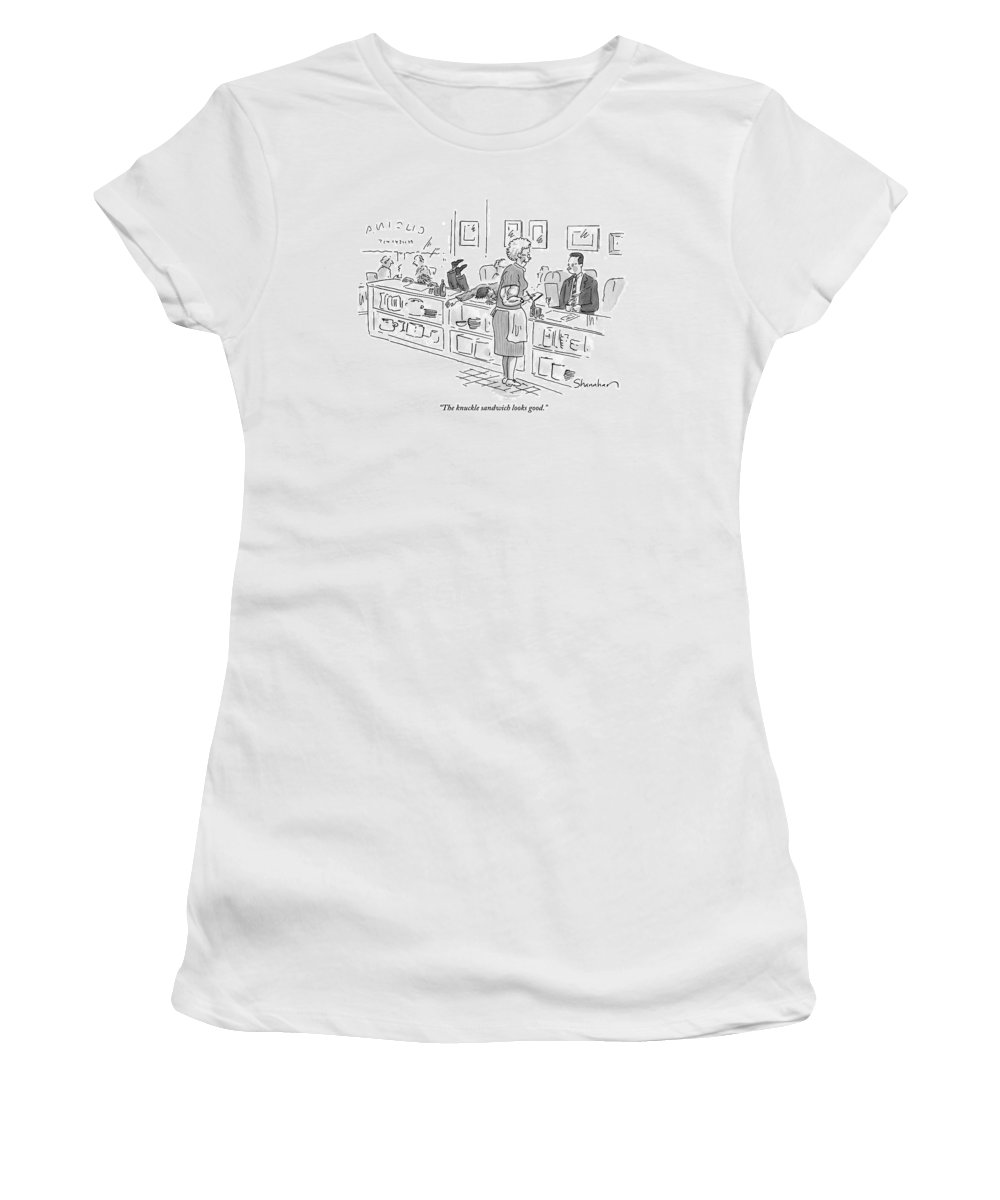Knuckle Sandwich Women's T-Shirt featuring the drawing Elderly Waitress With Enormous Biceps Stands by Danny Shanahan