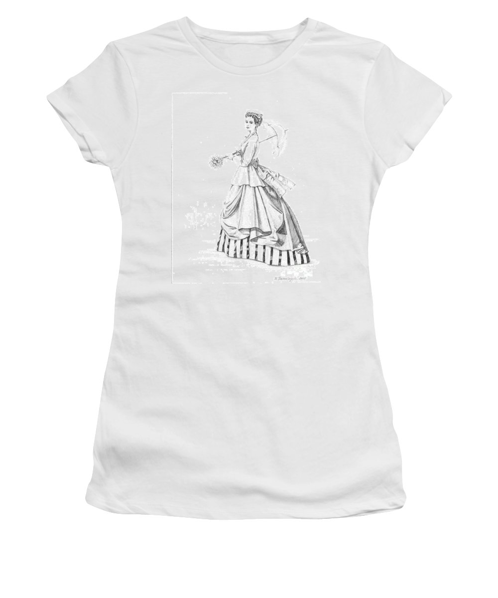 Sketch Women's T-Shirt (Athletic Fit) featuring the painting Elegant Lady by Margaryta Yermolayeva