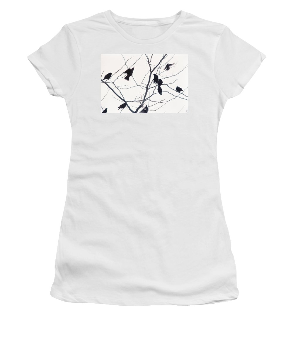Birds Women's T-Shirt (Athletic Fit) featuring the photograph Eleven Birds One Morsel by Ric Bascobert