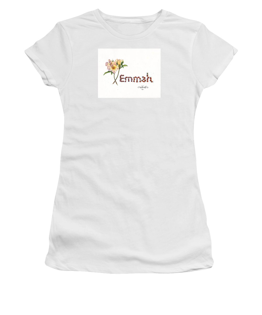 Emmah Women's T-Shirt (Athletic Fit) featuring the painting Emmah In Ladybugs by Glenn Farrell