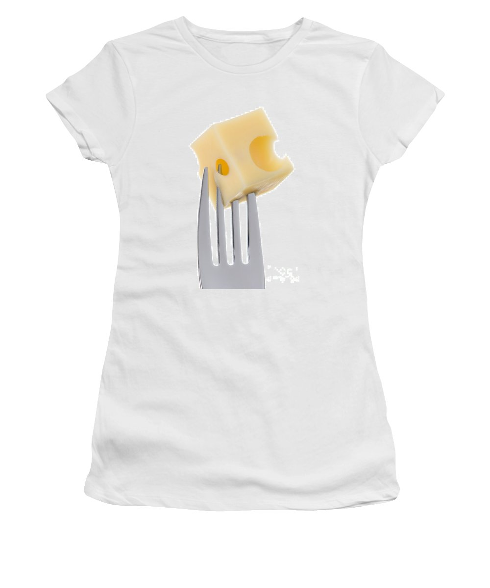 Cheese Women's T-Shirt featuring the photograph Emmental Cheese On Fork Against White Background by Lee Avison