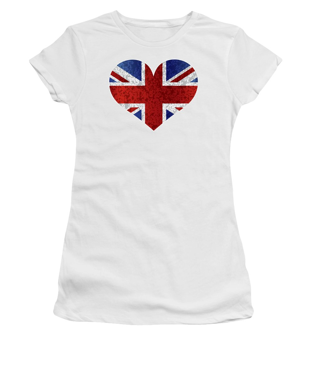 Union Women's T-Shirt featuring the photograph England Union Jack Flag Heart Textured by Jit Lim