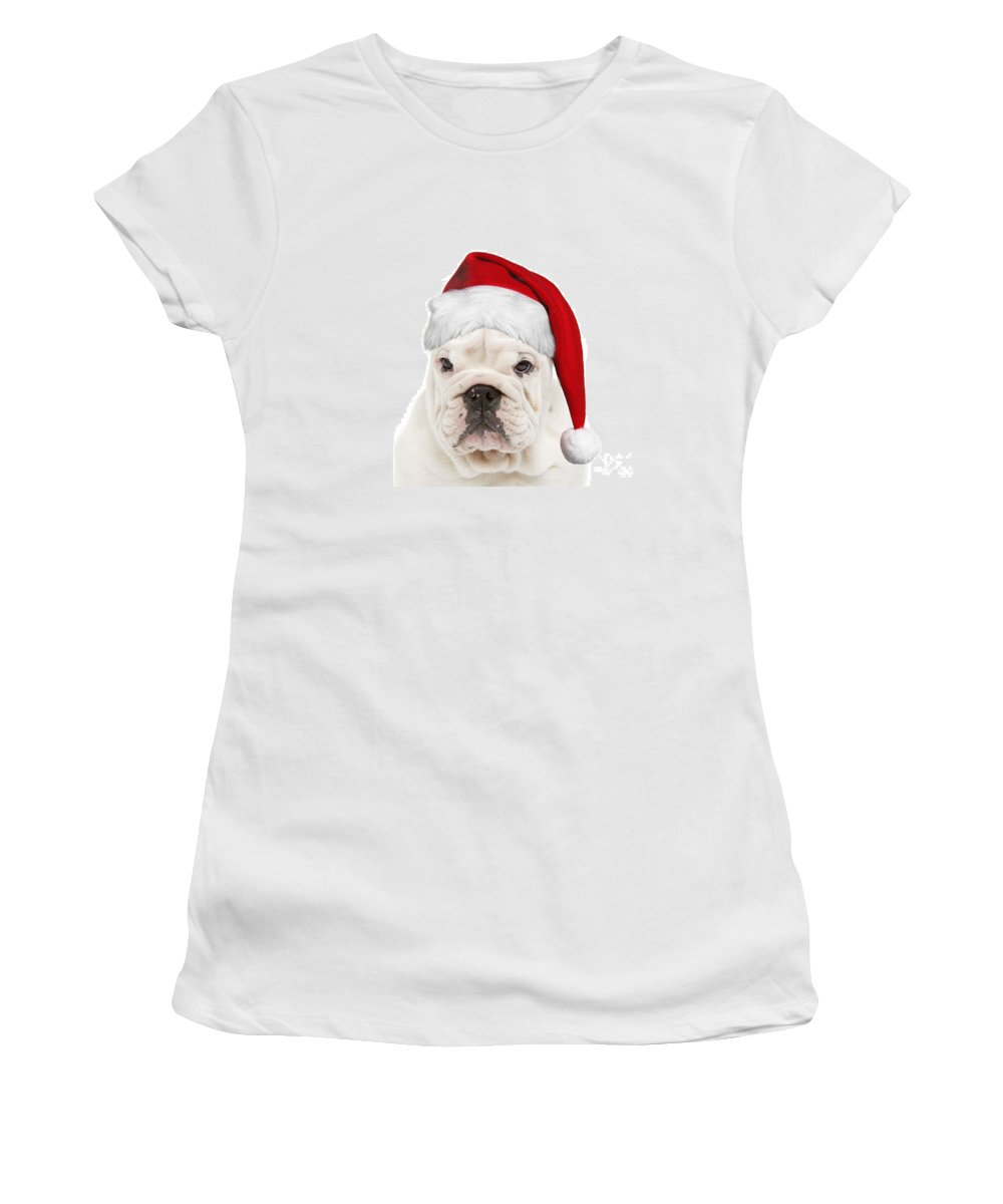 English Bulldog Women's T-Shirt (Athletic Fit) featuring the photograph English Bulldog In Christmas Hat by Jean-Michel Labat