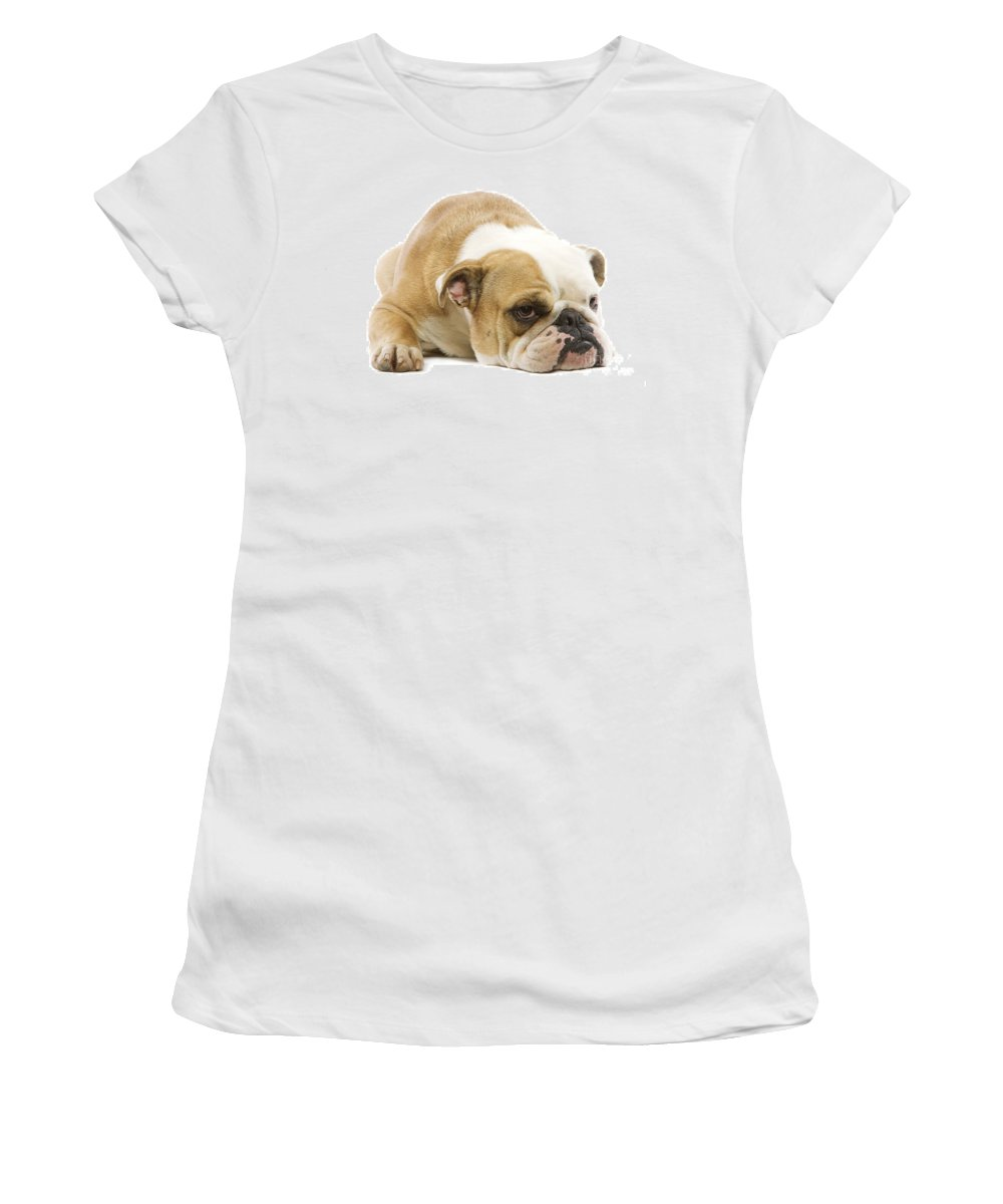 English Bulldog Women's T-Shirt (Athletic Fit) featuring the photograph English Bulldog by Jean-Michel Labat