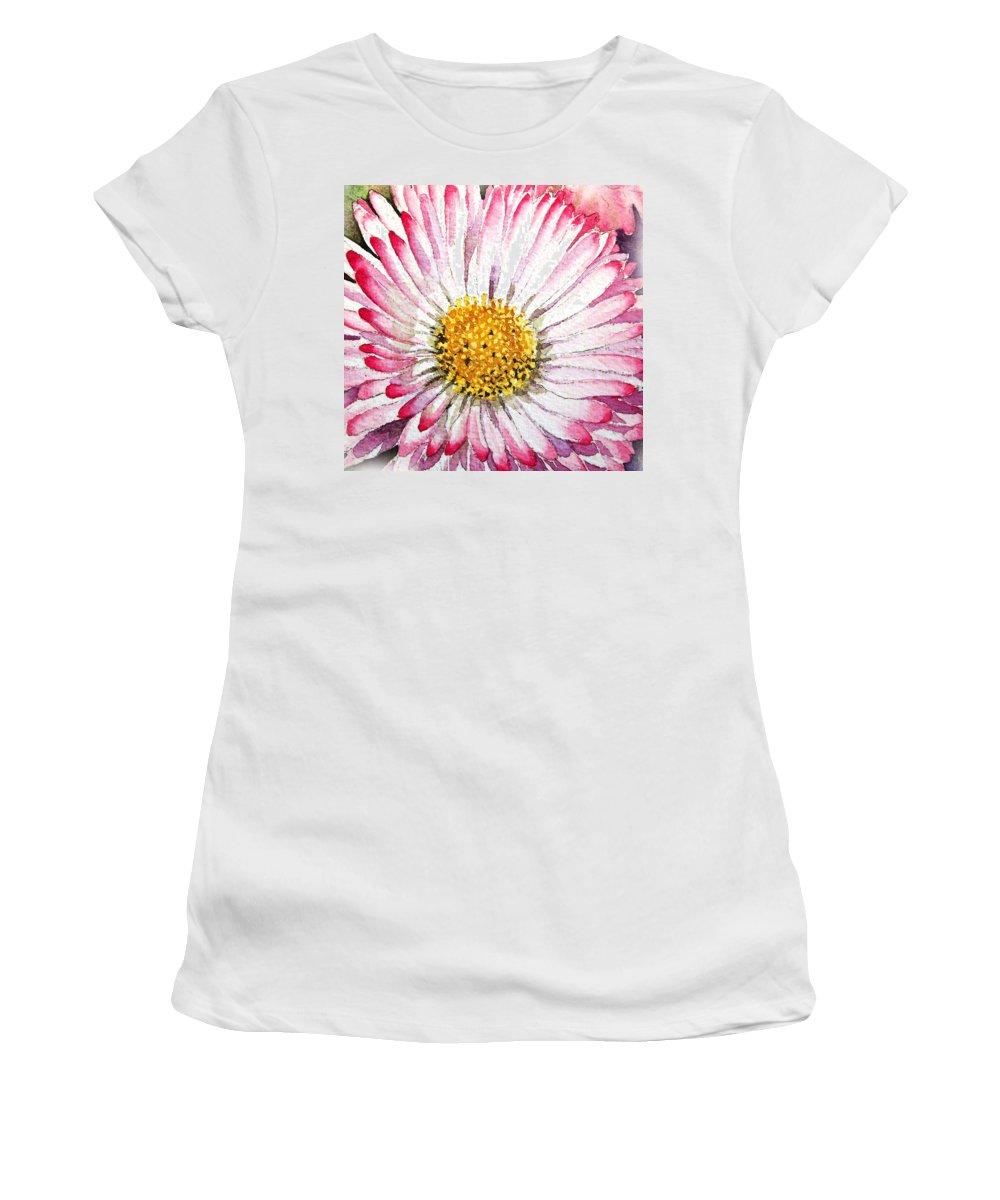 English Daisy Women's T-Shirt featuring the painting English Daisy by Irina Sztukowski