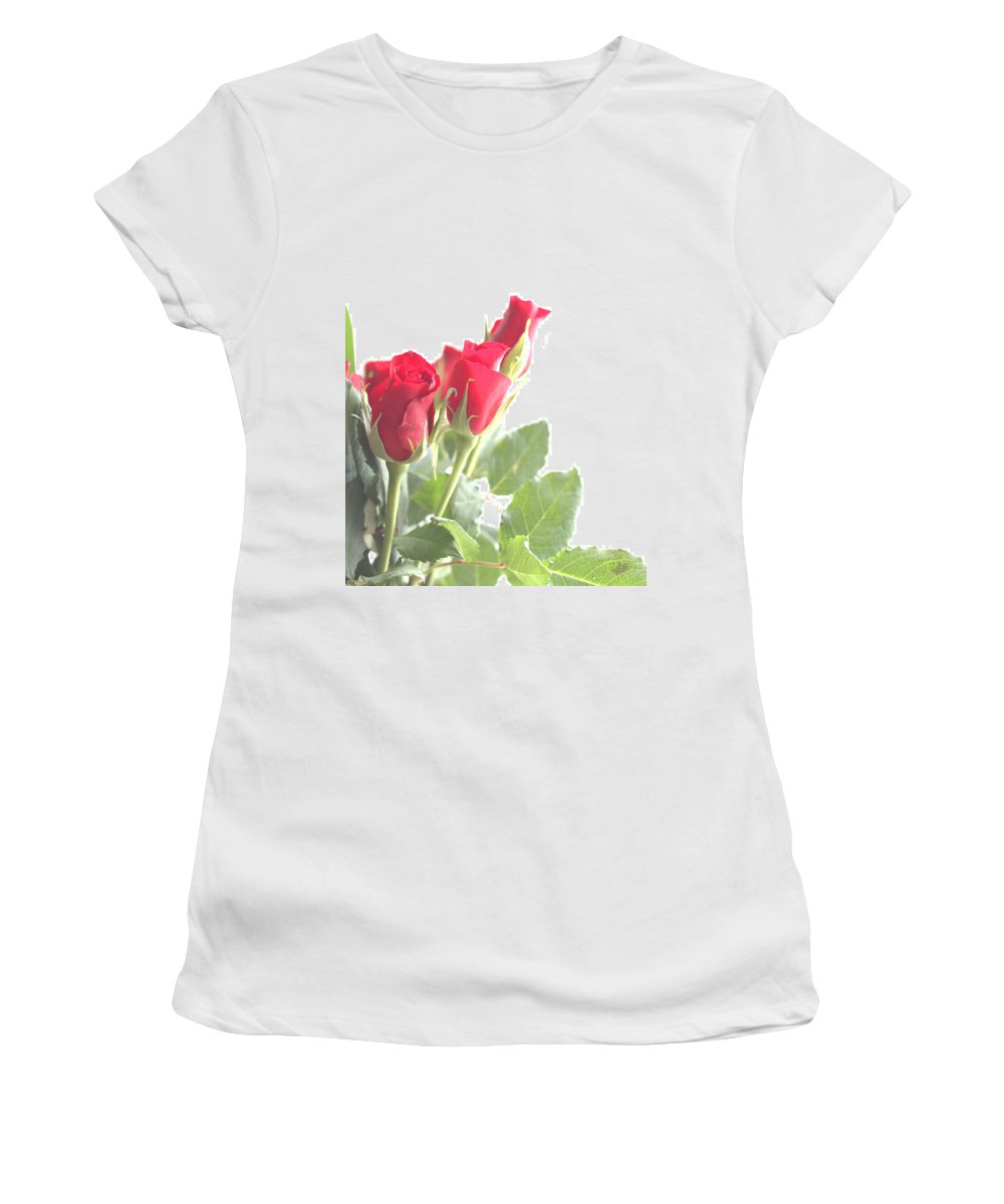 Roses Women's T-Shirt featuring the photograph Enjoying The Sun by Rachel Mirror
