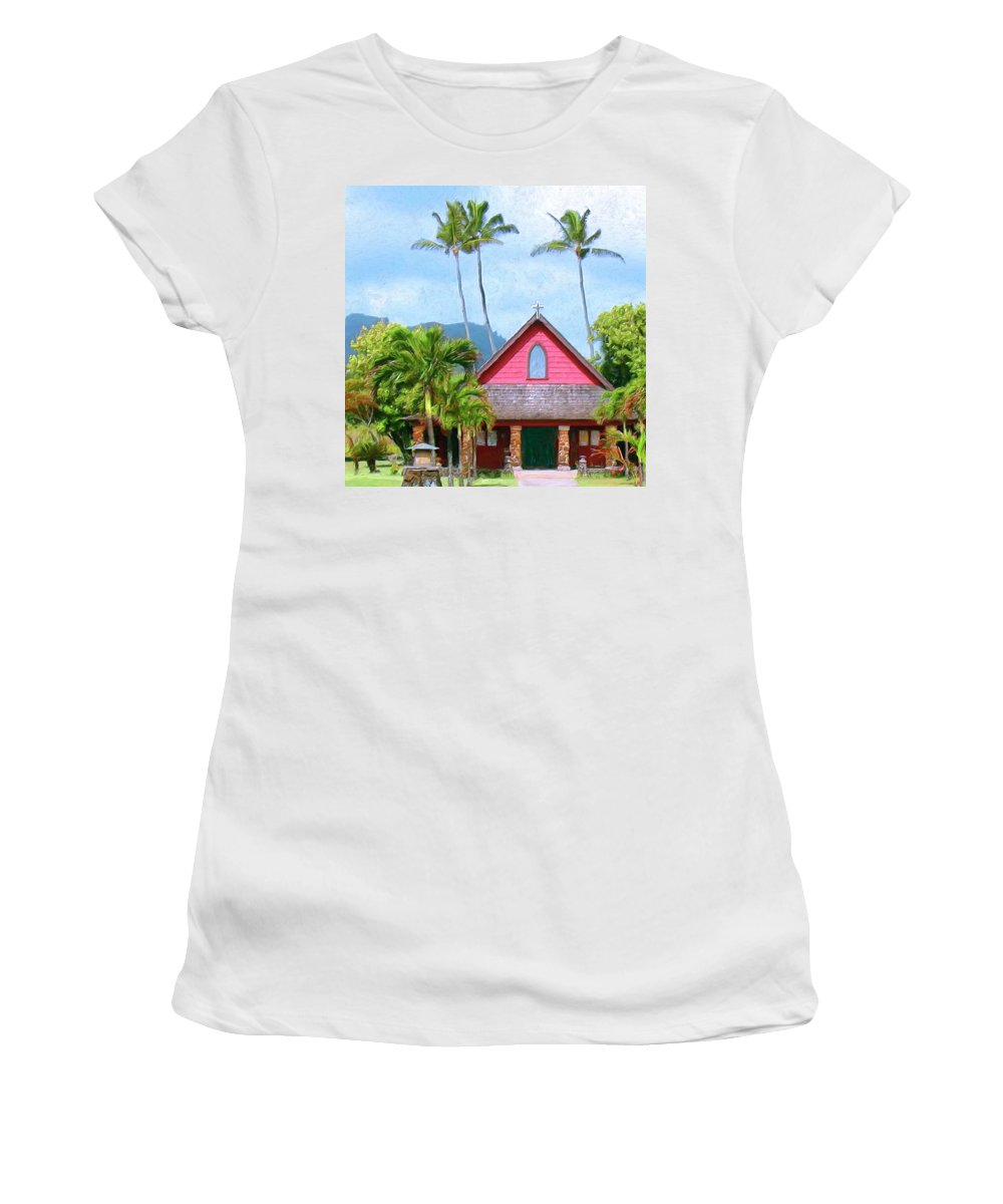 Episcopal Church In Kapaa Women's T-Shirt (Athletic Fit) featuring the painting Episcopal Church In Kapaa by Dominic Piperata