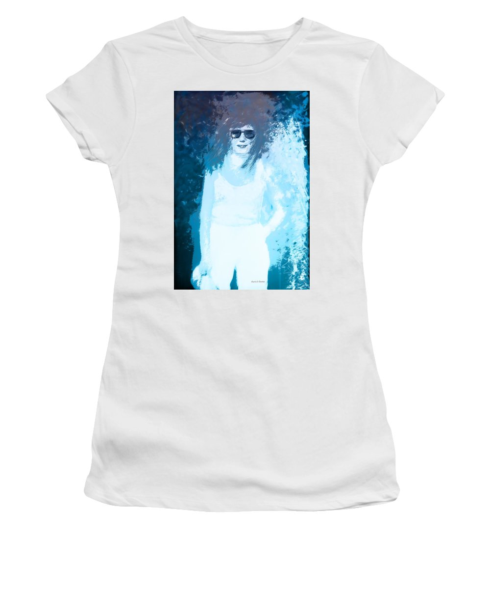 Etched Lady In Blue Women's T-Shirt featuring the painting Etched Lady In Blue by Angela Stanton