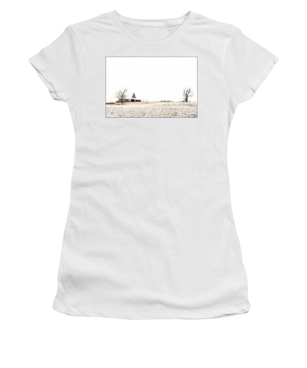 Ethereal Winter Scene Women's T-Shirt featuring the photograph Ethereal Wintry Scene by Imagery by Charly